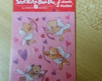 Vintage Stickety Doo Da Stickers New Mint in package - Cupid Bear Valentine Stickers