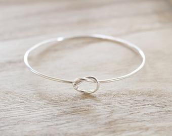 Sterling silver knot bangle, love knot, knot cuff, knot bangle, love knot bracelet, friendship bracelet, promise bracelet, cuff, silver knot