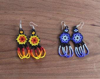 Huichol Earrings - Boho Style Earrings - Flower Earrings - Dangly Earrings - Mexican Earrings - Beaded Earrings - Floral Earrings - Tribal