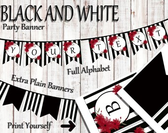 Black and White Party Banner, Party Banner, Water color flowers, Black & White, Black and white stripe decor, Birthday banner