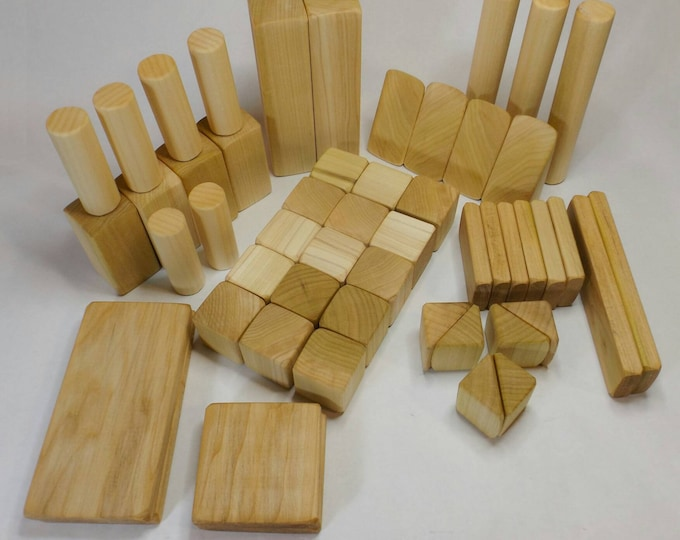 Wooden Building Blocks sets, Handcrafted wooden toy blocks. Assorted Shapes and Sizes, Baby Blocks, Wood Building Blocks