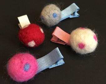 Wool 100%,Ball Hair Clip,Baby Girl Hair Clip,piggy tail,piggy tail Hair clip,Toddler Hair Clip,Little Girl Hair Clip,Baby Barrette,pom pom