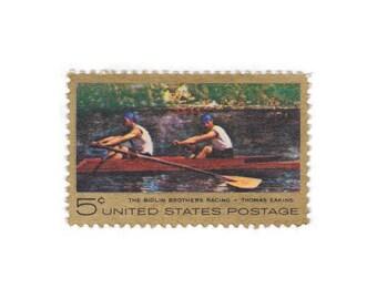 1967 5c Thomas Eakins - The Biglin Brothers Racing - 10 Unused Vintage Postage Stamps - Item No. 1335