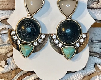 Multi-Stone Statement Earrings, Black and Green