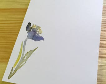 Iris Floral Notepad Stationery - Watercolor Flower Notepad - Personalized or Blank Handmade Blue Iris Notepad - 40 Sheet Notepad