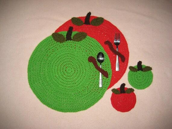 Crochet PATTERN - Apple Placemat and Coaster Set; Crochet Apple ...