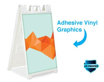 White Signicade standard A Frame sidewalk sign. Includes graphics for each side.