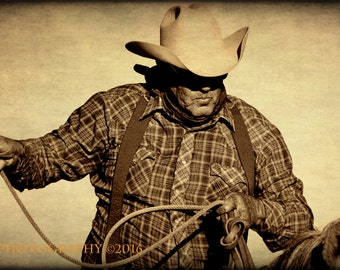 Fine Art Photography, Western Cowboy, Southwestern Rustic Home Decor, Sepia Art Print, Texas Photos