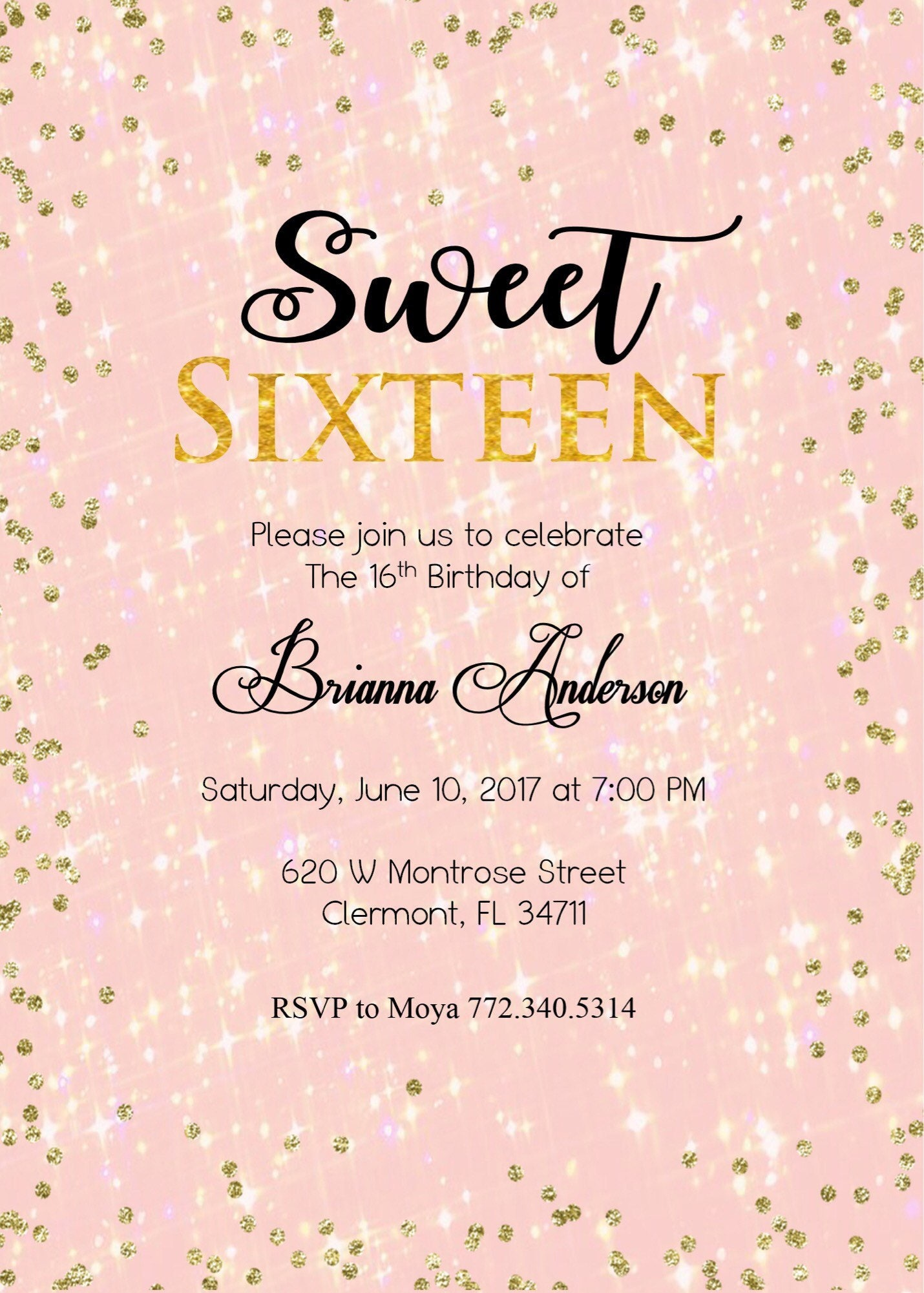 gold and pink sweet sixteen birthday party invitations