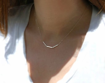 Silver Bar Necklace / Geometric Necklace, Simple Everyday Necklace, Dainty Minimal Necklace, Sterling Silver Necklace by Charmingmetals