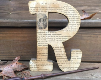"""Harry Potter, 9"""", Aged, Book Page, Stand Alone Letter with Chapter Illustration - Bookend - Custom Made"""