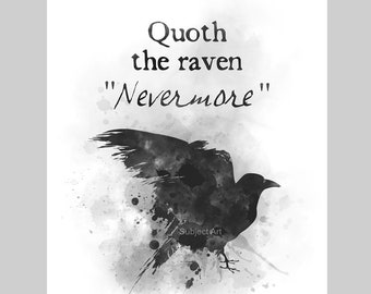 Quoth the Raven Nevermore ART PRINT illustration, Edgar Allan Poe, Gothic, Horror, Macabre, Wall Art, Home Decor, Gift