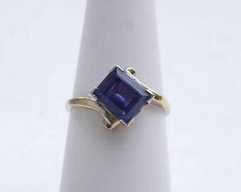 Vintage Color Change Ring, Vintage Alexandrite Ring, Gold Vermeil Color Change Ring