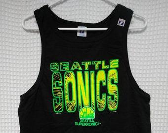Seattle Sonics vintage tank top Supersonics shirt black tee 90's Logo 7 M/L 1990 NBA basketball Payton Kemp old logo 80's mint condition USA