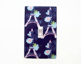 Paris Light Switch Cover - Eiffel Tower Switch Plate - Girls Pink Blue Switch Plate - Parisian Decor - Girls Bedroom - Gift for Her