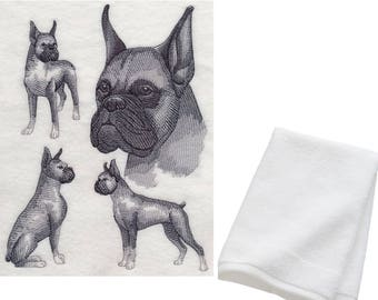 Boxer Dog Embroidered Cotton Hand Towel Birthday Gift Present