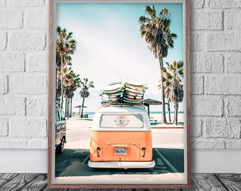 Surfer Van Print, Instant Download, Digital Print, Beach Wall Art, Boys Room Decor, Orange Mini Bus, Palm Trees Print, California Decor