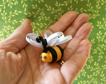 Quilled bee ornament with hanger and Bee Happy tag