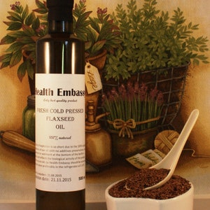 Fresh Cold Pressed Linseed/Flaxseed Oil / Health Embassy / Organic