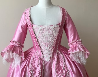 Pink Rococo Marie Antoinette Gown with Lace Stomacher