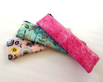 Makeup Brush Holder, Slim Pencil Case, Small Cosmetic Bag, Makeup Bag, Pencil Pouch, Long Zipper Pouch - 50x2 Selections, Floral, Flower,Dot