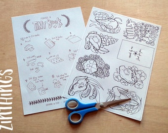 DIY Mini Zine Coloring Book - Flowers and Skulls - Coloring for Adults - Printable