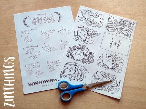 DIY Mini Zine Coloring Book - Flowers and Skulls - Coloring for ...
