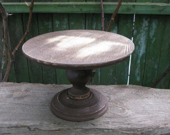 Rustic Cake Stand, Shabby Brown cake stand, Wooden brown cake stand,  Rustic Cake Stand, Wooden Custom Cake Stand, Rustic Wedding pedestal