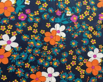 Vintage Navy, Turquoise, Orange, Purple and Yellow Floral Fabric, Sheer Fabric with bold colours