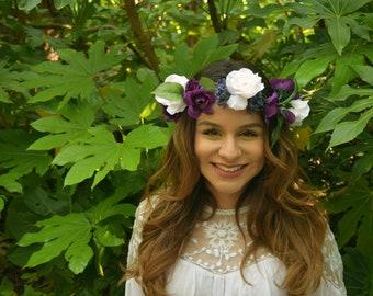 Purple Flower Crown - Festival Floral Crown