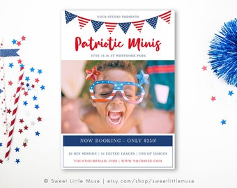 Fourth of July mini session template - patriotic mini session template - July 4th mini session  INSTANT DOWNLOAD