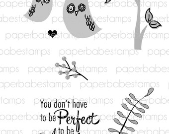 Whimsical Woodland Stamp Set 2(owl) - Paperbabe Stamps - Clear Photopolymer Stamps - For paper crafting and scrapbooking.