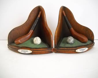 Golf Bookends  Golf Club and Golf Ball Bookends