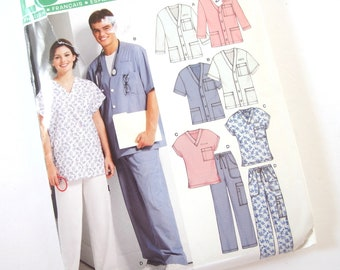 UNCUT Scrubs Sewing Pattern New Look 6307, Size XS, S, M, L, XL Bust 30 - 48 Inches