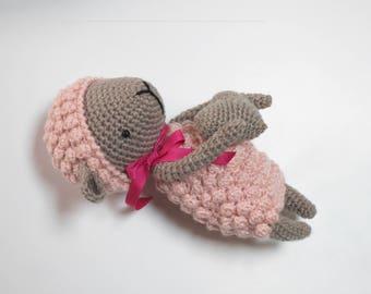 Hand crocheted pink sheep