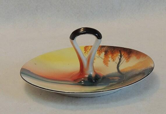 Vintage Hand Painted Noritake Sunset Lake & Cottage Single Handle Lemon Tidbit Plate