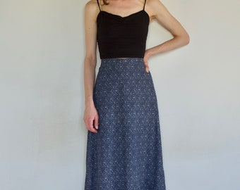 70's Prairie maxi skirt cotton blue and white bird print with red rick rack