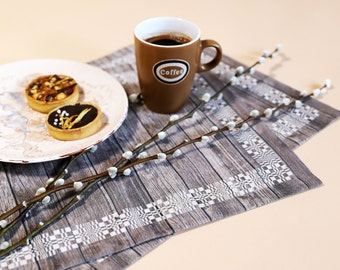 Fabric placemats - Brown placemats - Linen placemats - Rustic wood placemats - Set of 2 - 12x16 in (30x42 cm)