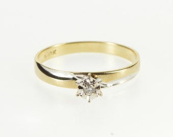 10K Retro Diamond Solitaire Inset Engagement Ring Size 6 Yellow Gold
