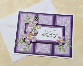 Congratulations card, best wishes card, handmade card, greeting card, floral design, purple card
