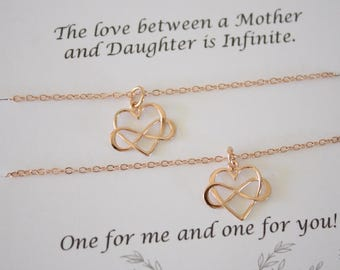 Mother and Daughter Necklace Gift Set, 2 Infinity Heart Necklaces, Daughter, Set of two, Rose Gold Infinity Charm, Gold, Mothers Day, Gift