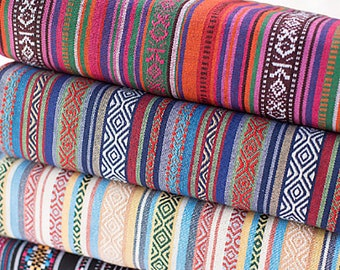 Colorful Stripy Fabric BOHO Bohemian fabric Upholstery fabric Home decor fabric Curtain Sofa Table cloth - 1/2 yard