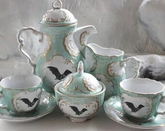 Green & Gold Customizable Bat Tea Set,Bat China, Bat Teacup, Bat Mug, Bat Plate, Halloween Tea Set, Spooky Tea Set, Goth Tea Set, Bat Dishes