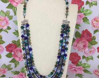 Statement Blues - handmade modern beaded necklace