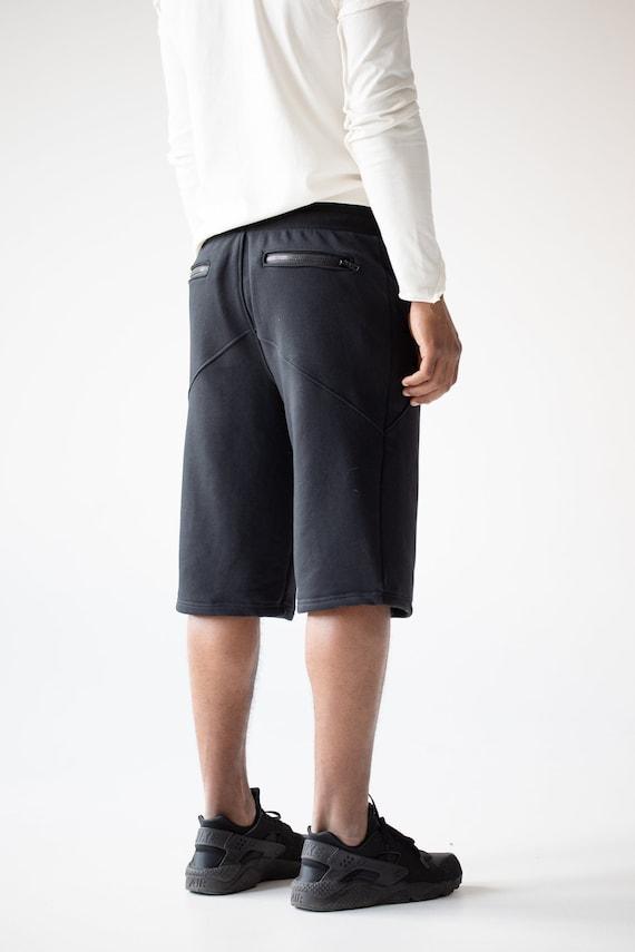 Men black summer shorts with zipped pockets, cyberpunk goth urban clothing, running steampunk shorts, sports activewear boyfriend gift A0122