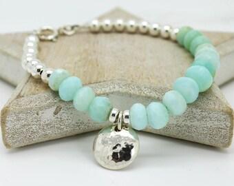 Blue opal Bracelet, Blue Peruvian Opal silver bead Bracelet, Opal silver bead Bracelet, Blue opal silver Bracelet, Silver bead Bracelete