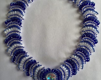 """Blue and Silver handmade beaded 18"""" necklace"""