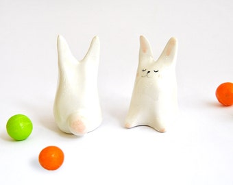 White Rabbit Easter Ceramic Miniature , Decorated in Pink and Black. Ready To Ship