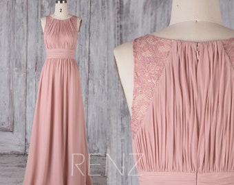 Bridesmaid Dress Dusty Rose Chiffon Dress,Wedding Dress,Ruched Jewel Neck Prom Dress,Illusion Lace Maxi Dress,Sleeveless Party Dress(H486B)