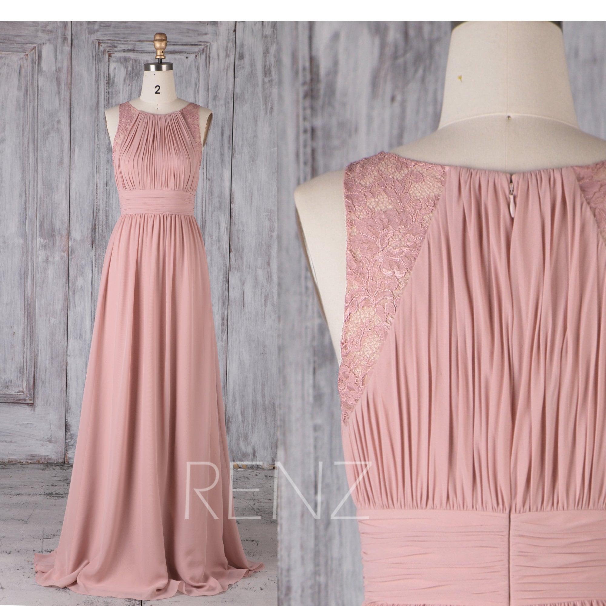 Brautjungfer Kleid staubigen Rosa Chiffon Kleid Brautkleid